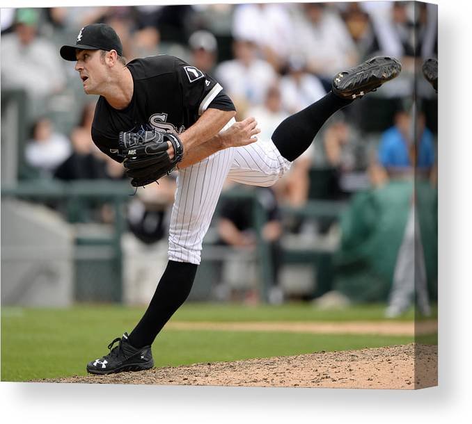 American League Baseball Canvas Print featuring the photograph David Robertson by Ron Vesely