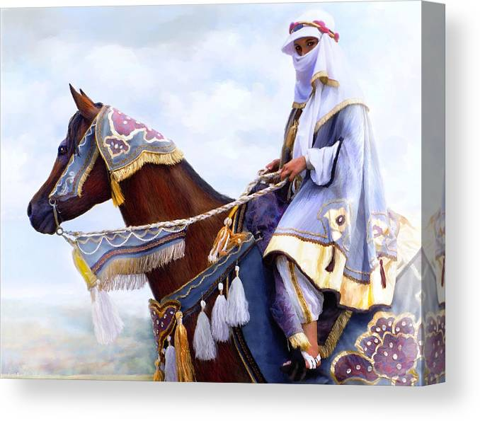 Horse Canvas Print featuring the painting Desert Arabian Native Costume Horse And Girl Rider by Connie Moses