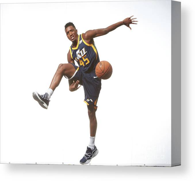 Nba Pro Basketball Canvas Print featuring the photograph Donovan Mitchell by Nathaniel S. Butler