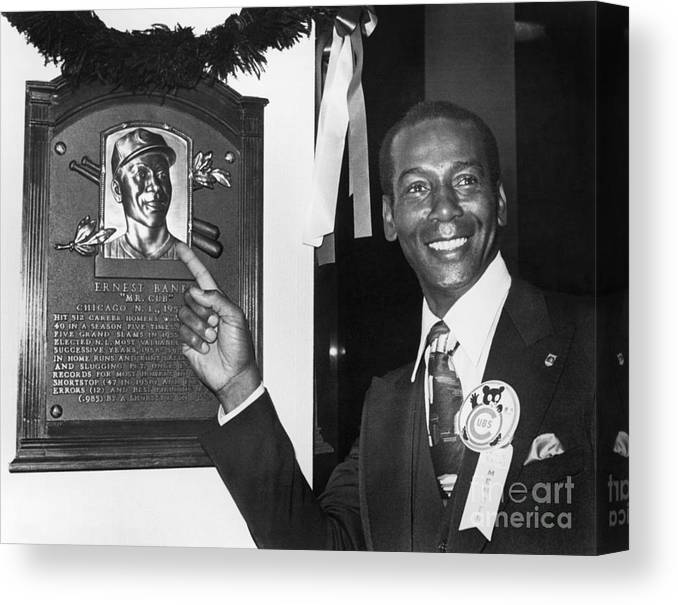 People Canvas Print featuring the photograph Ernie Banks by National Baseball Hall Of Fame Library