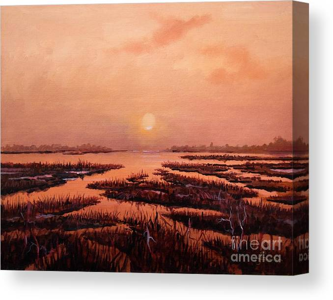 Marsh Canvas Print featuring the painting Evening Time by Sinisa Saratlic