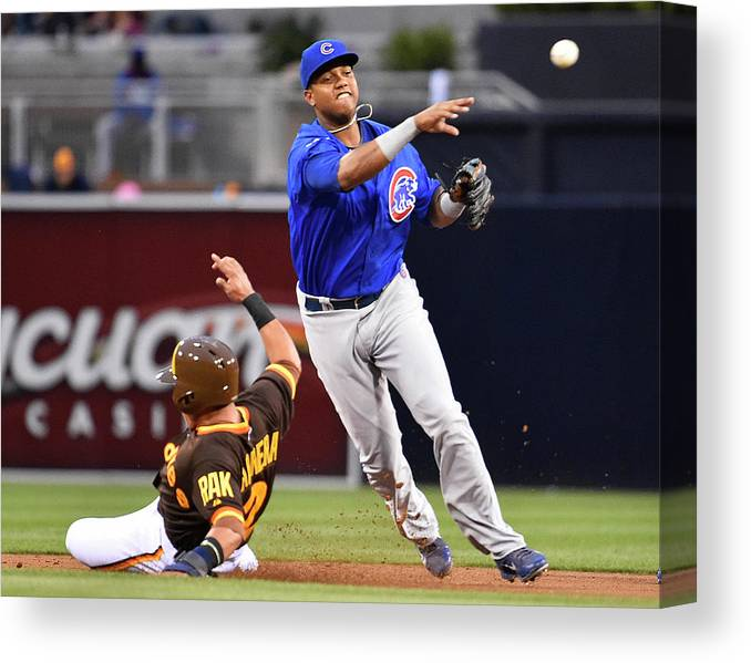 Double Play Canvas Print featuring the photograph Everth Cabrera and Starlin Castro by Denis Poroy