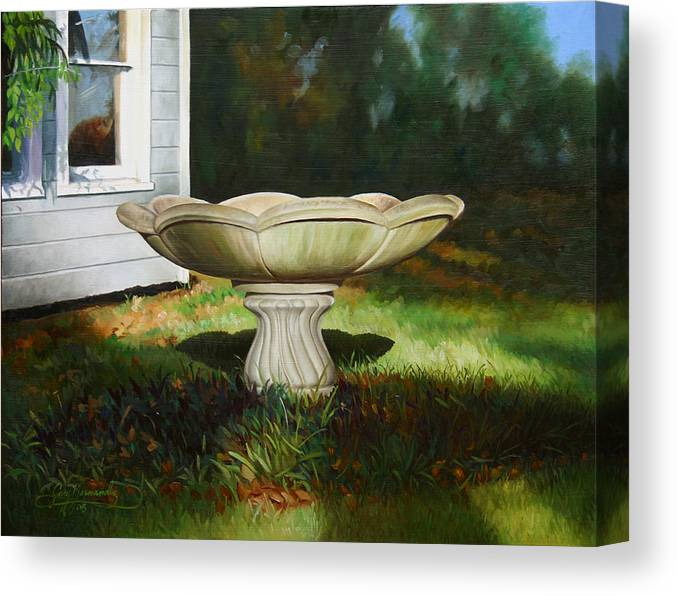 Concrete Fountain Canvas Print featuring the painting Fall Afternoon by Gary Hernandez