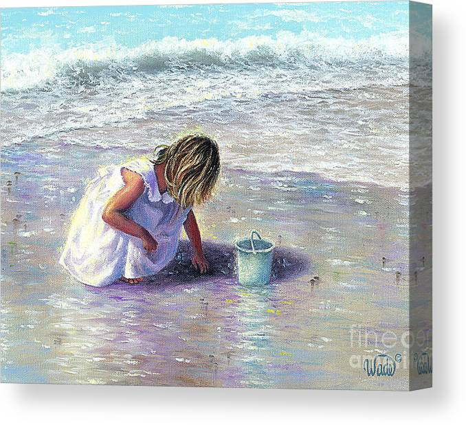 Blond Beach Girl Finding Sea Glass Canvas Print featuring the painting Finding Sea Glass by Vickie Wade