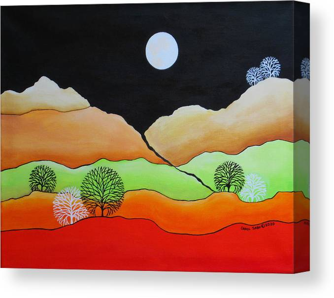 Full Moon Canvas Print featuring the painting Full Moon by Carol Sabo