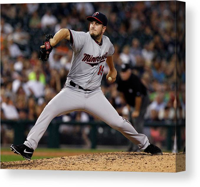Ninth Inning Canvas Print featuring the photograph Glen Perkins by Duane Burleson