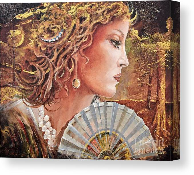 Female Portrait Canvas Print featuring the painting Golden Wood by Sinisa Saratlic