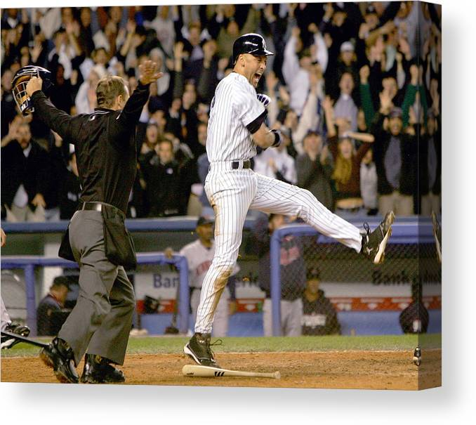 Game Two Canvas Print featuring the photograph Hideki Matsui and Derek Jeter by Ezra Shaw