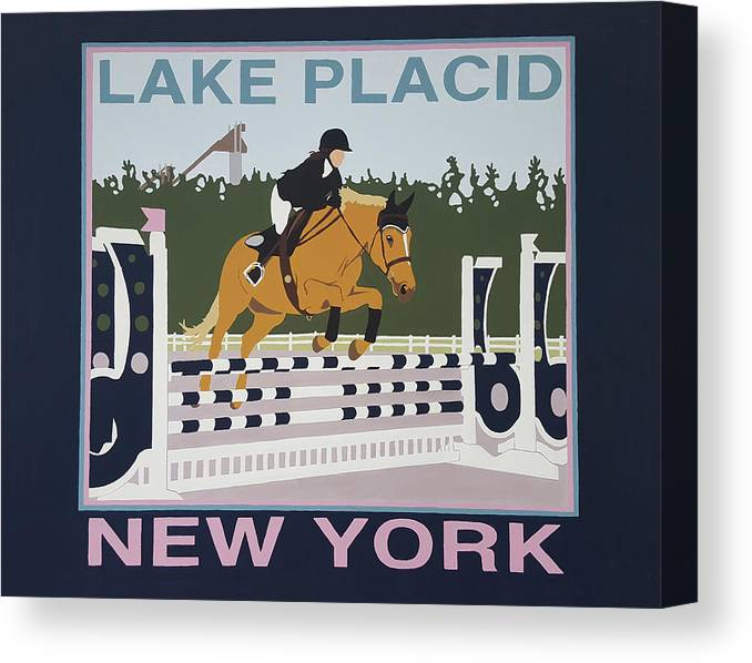 Horse Jumping Horse Jump Lake Placid New York Ny Horses Show Showgrounds Ski Jumps Canvas Print featuring the painting Lake Placid Horse Show by Joanne Orce