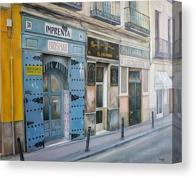 Madrid Canvas Print featuring the painting Imprenta Brismar by Tomas Castano