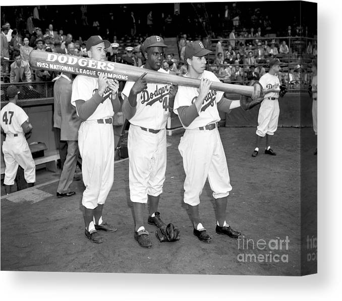 1950-1959 Canvas Print featuring the photograph Jackie Robinson, Duke Snider, and Pee Wee Reese by Olen Collection