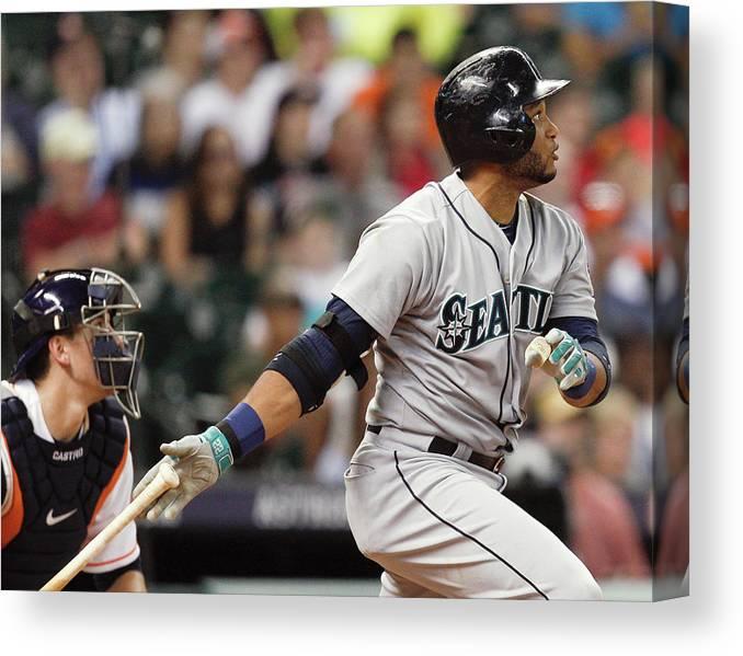 American League Baseball Canvas Print featuring the photograph Jason Castro by Bob Levey