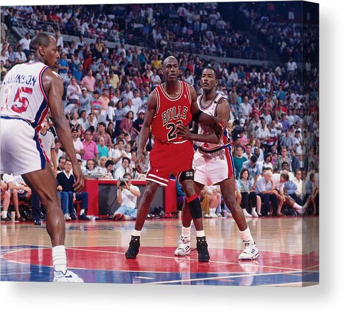 Chicago Bulls Canvas Print featuring the photograph Joe Dumars and Michael Jordan by Allen Einstein
