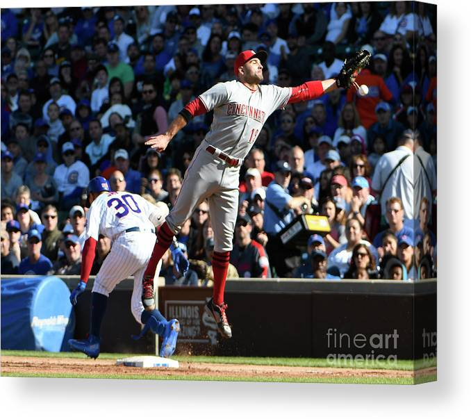 People Canvas Print featuring the photograph Jon Jay and Joey Votto by David Banks