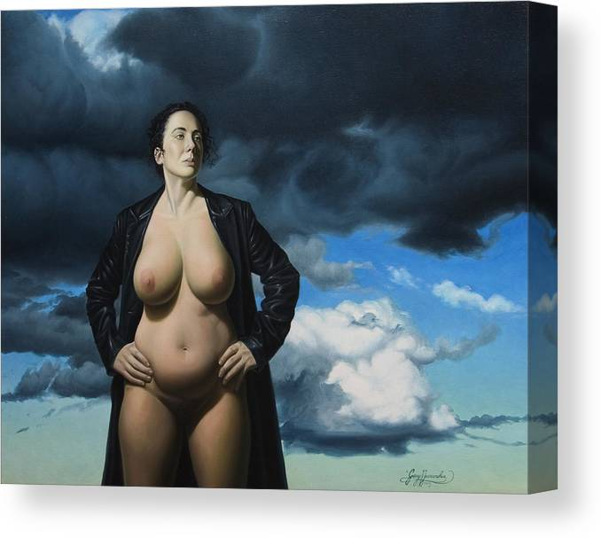 Female Nude Canvas Print featuring the painting Just A Girl A Coat And Some Clouds by Gary Hernandez