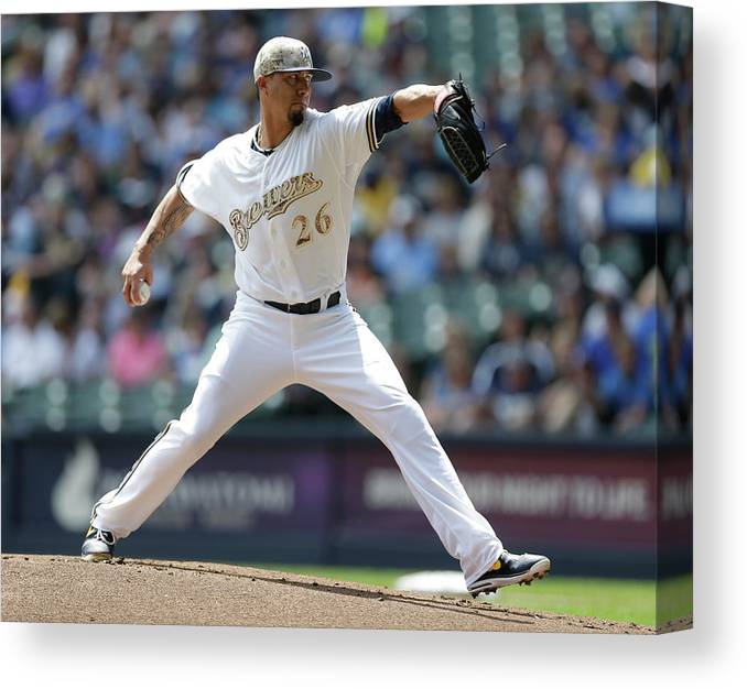 American League Baseball Canvas Print featuring the photograph Kyle Lohse by Jeffrey Phelps