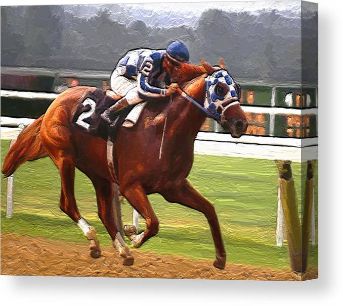 Secretariat At Belmont Canvas Print featuring the painting Like a Tremendous Machine by G Cannon