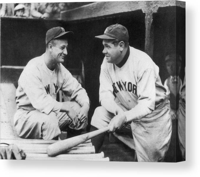 1930-1939 Canvas Print featuring the photograph Lou Gehrig and Babe Ruth by Mpi