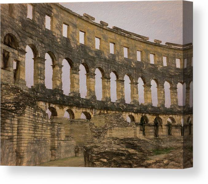 Pula Canvas Print featuring the photograph Magnificient Pula Arena In Croatia by Lindsay Thomson