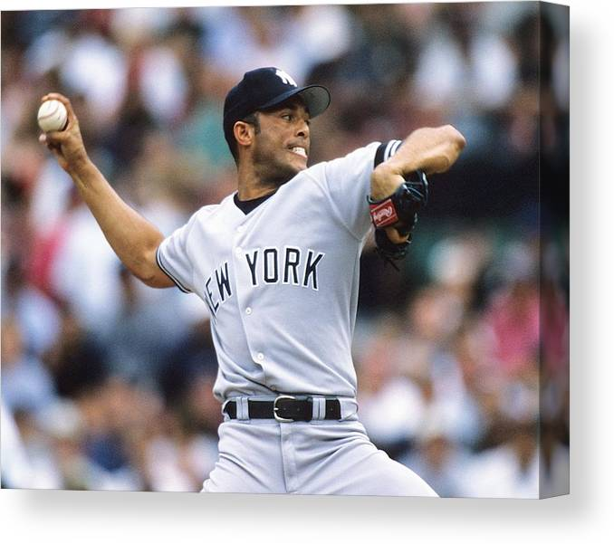 American League Baseball Canvas Print featuring the photograph Mariano Rivera by Ronald C. Modra/sports Imagery
