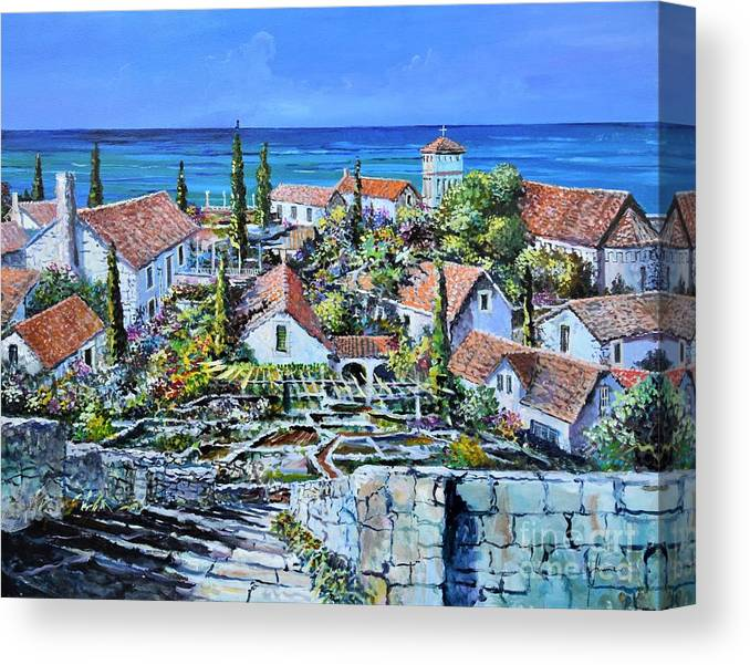 Original Painting Canvas Print featuring the painting Mediterraneo by Sinisa Saratlic