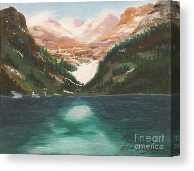 Mendenhall Glacier Canvas Print featuring the painting Mendenhall Glacier Alaska by Lora Duguay