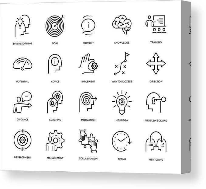 Expertise Canvas Print featuring the drawing Mentoring Icon Set by Enis Aksoy