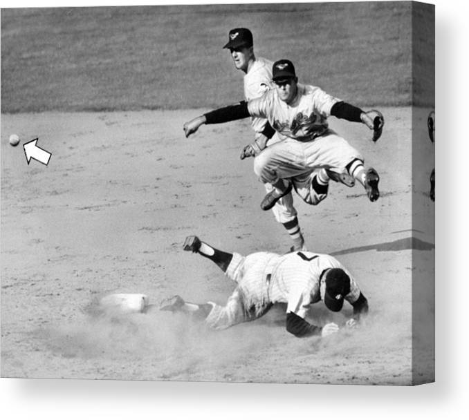 American League Baseball Canvas Print featuring the photograph Mickey Mantle and Yogi Berra by New York Daily News Archive