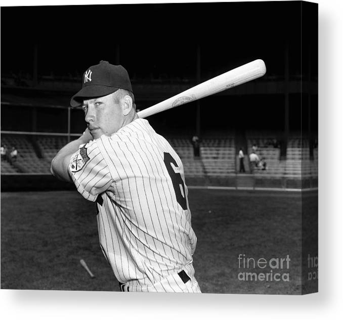 American League Baseball Canvas Print featuring the photograph Mickey Mantle by Kidwiler Collection