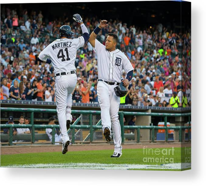 People Canvas Print featuring the photograph Miguel Cabrera and Victor Martinez by Dave Reginek
