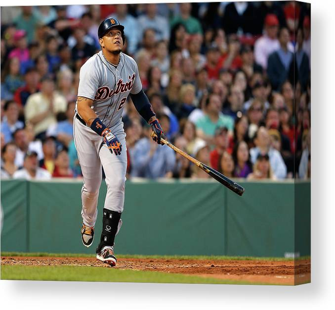 American League Baseball Canvas Print featuring the photograph Miguel Cabrera by Jim Rogash