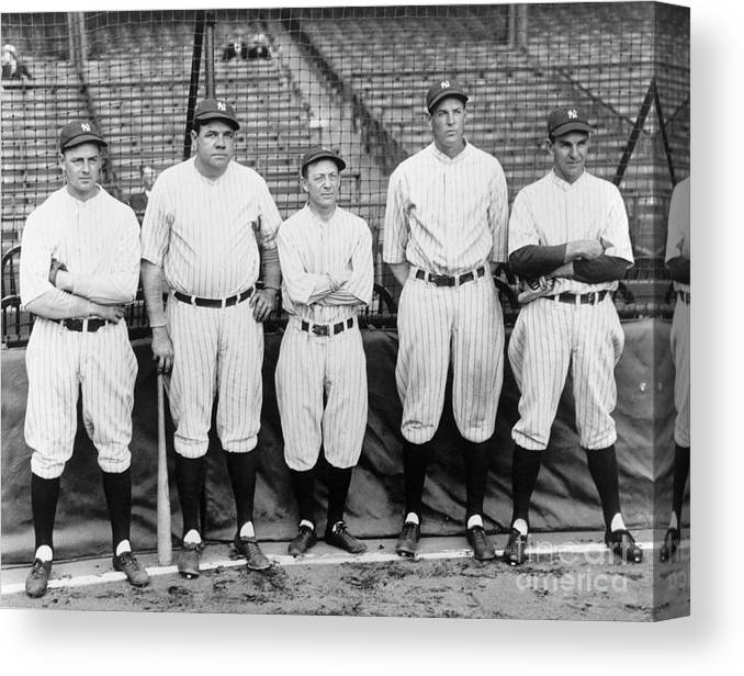 American League Baseball Canvas Print featuring the photograph Miller Huggins and Babe Ruth by National Baseball Hall Of Fame Library