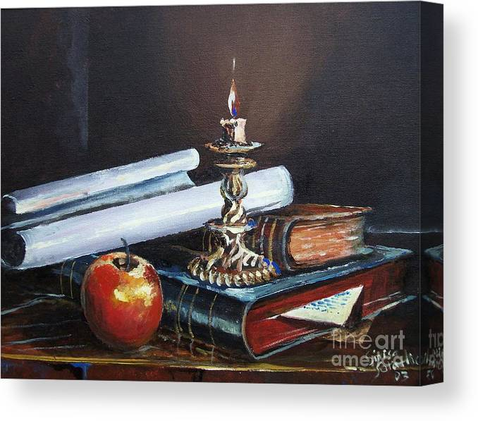 Original Painting Canvas Print featuring the painting Old Books by Sinisa Saratlic