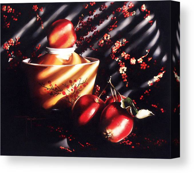 Oriental Canvas Print featuring the pastel Ornamental Crabapples by Dianna Ponting