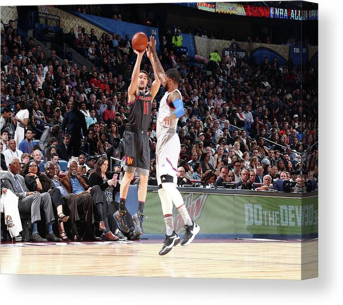 Event Canvas Print featuring the photograph Paul George and Klay Thompson by Nathaniel S. Butler