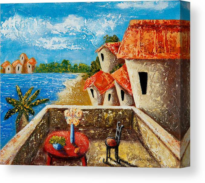 Landscape Canvas Print featuring the painting Playa Gorda by Oscar Ortiz