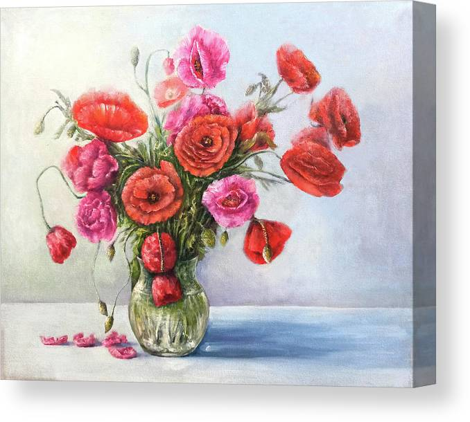 Poppy Canvas Print featuring the painting Poppy flowers by Natalja Picugina