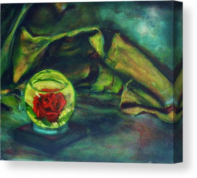 Oil Painting On Canvas Canvas Print featuring the painting Preserved Rose . . Draped Canvas by Sean Connolly