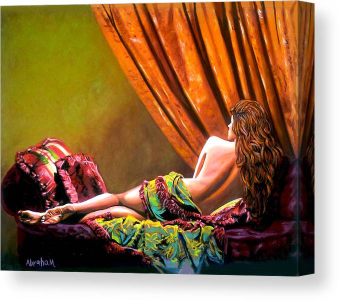 Cubanwomen Canvas Print featuring the painting Red Hair by Jose Manuel Abraham