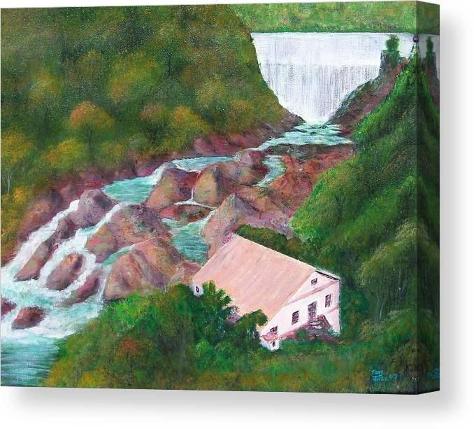 River Scene Canvas Print featuring the painting River Scene by Tony Rodriguez
