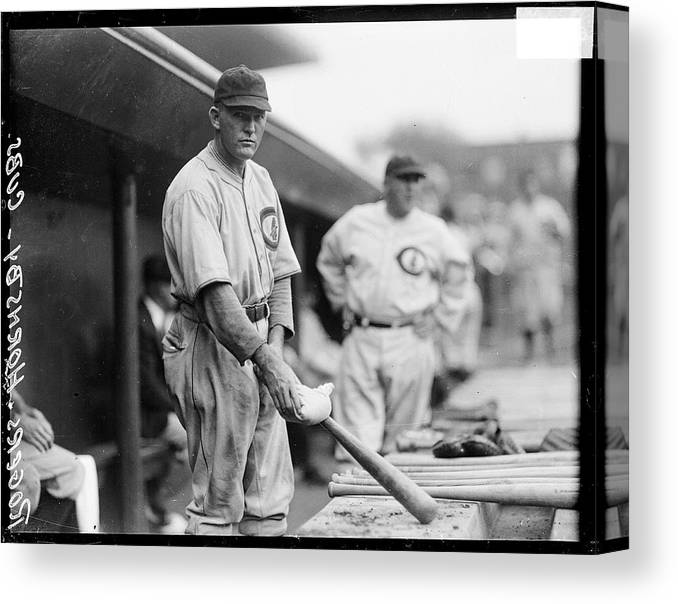 People Canvas Print featuring the photograph Rogers Hornsby by Chicago History Museum