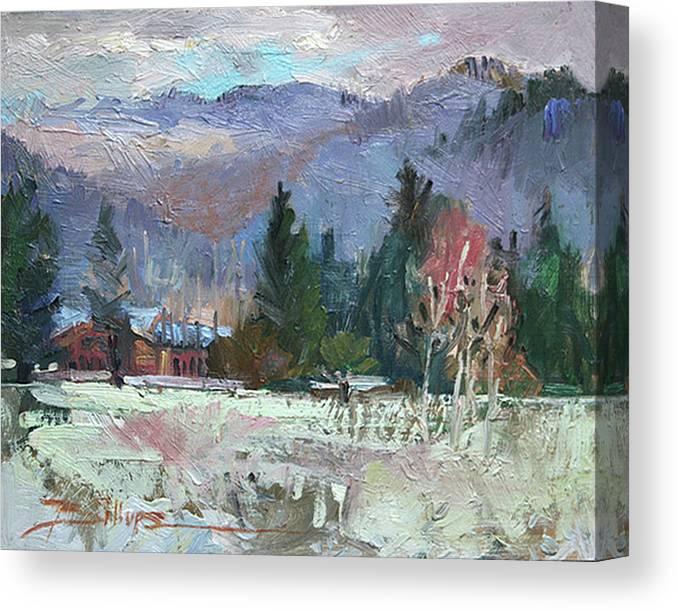 Plein Air Snow Scene Canvas Print featuring the photograph Rough Winter by Betty Jean Billups
