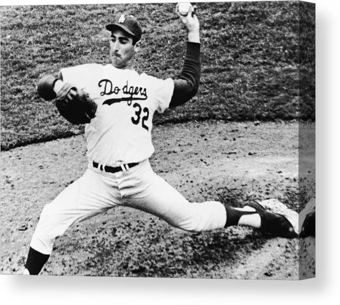 Sandy Koufax Canvas Print featuring the photograph Sandy Koufax by American Stock Archive