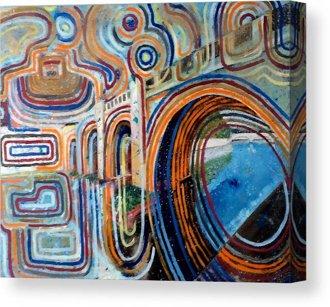 Abstract Construction Of Bridge Canvas Print featuring the painting SanGandolfo by Biagio Civale