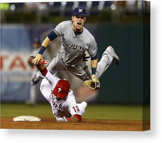 Double Play Canvas Print featuring the photograph Scooter Gennett and Freddy Galvis by Rich Schultz