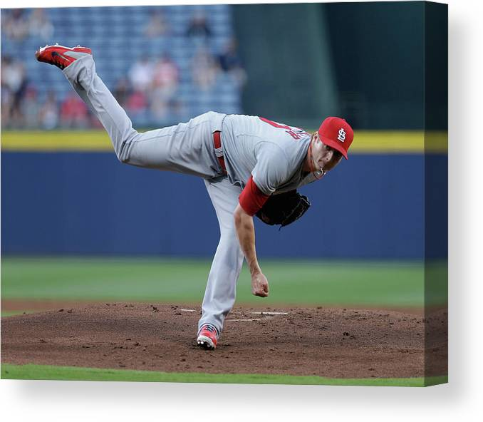 Atlanta Canvas Print featuring the photograph Shelby Miller by Mike Zarrilli