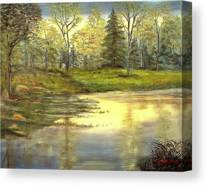 Landscape Trees Lake Reflections Canvas Print featuring the painting Spring Time by Kenneth LePoidevin
