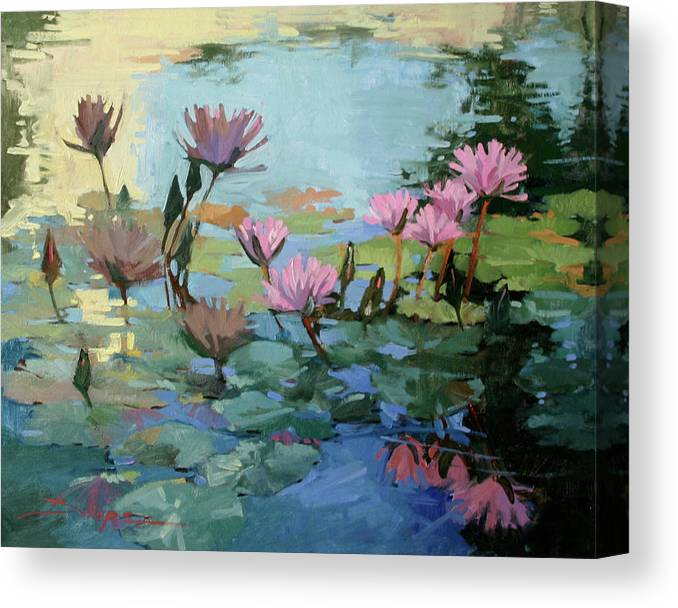Floral Canvas Print featuring the painting Times Between - water Lilies by Betty Jean Billups