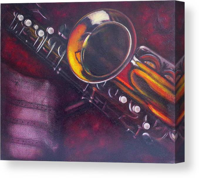 Oil Painting On Canvas Canvas Print featuring the painting Unprotected Sax by Sean Connolly