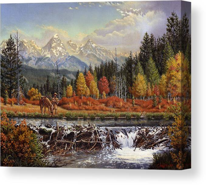 Western Mountain Landscape Canvas Print featuring the painting Western Mountain Landscape Autumn Mountain Man Trapper Beaver Dam Frontier Americana Oil Painting by Walt Curlee